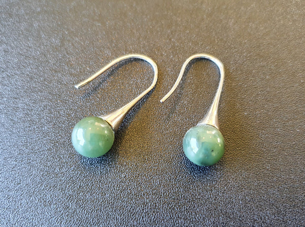 Greenstone (Nephrite Jade) 925 Sphere Earrings