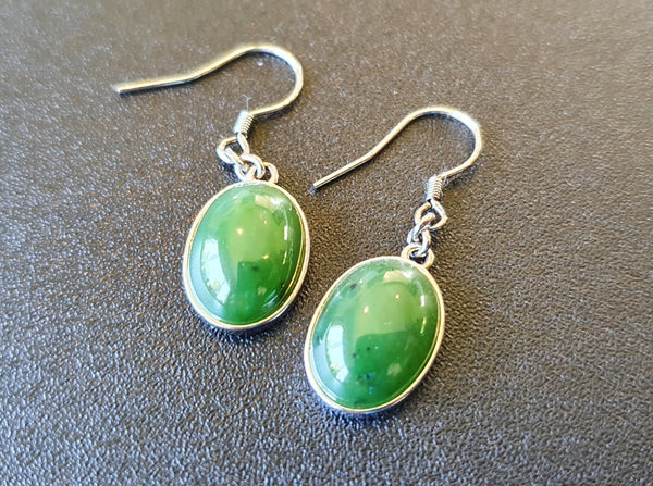 Greenstone (Nephrite Jade) 925 Oval Earrings