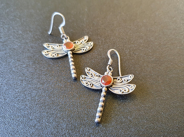 Carnelian Dragonfly 925 Earrings