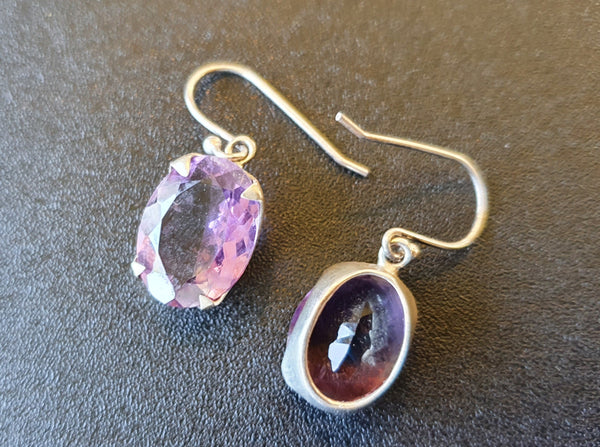 Amethyst Faceted Gem Sterling Earrings Large
