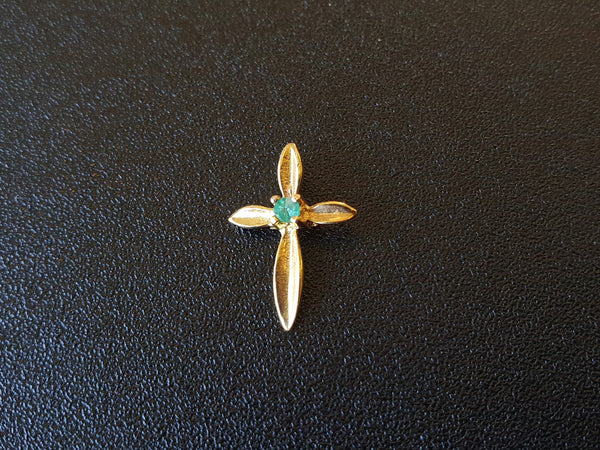 18K Gold Cross & Emerald Pendant
