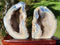 Agate Geode pair on stand