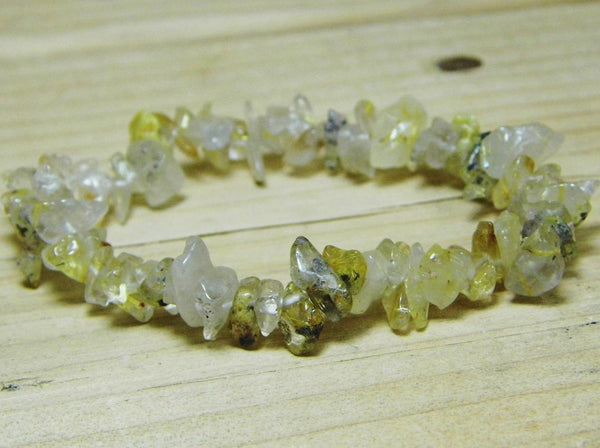 Rutilated Quartz Chip Bracelet - Earth's Treasures