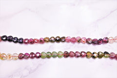 Tourmaline Gemstone Necklace Faceted Hearts