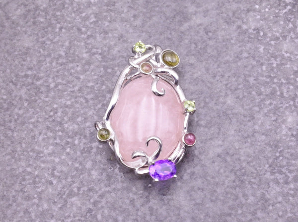Rose Quartz & Gemstone Pendant - Earth's Treasures