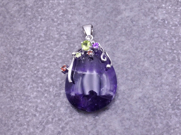 Amethyst & Gemstones Pendant - Earth's Treasures