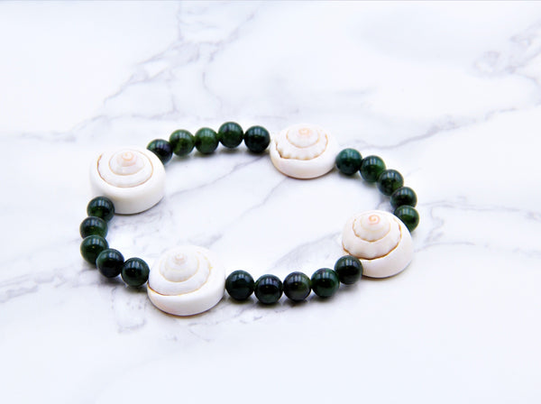 Greenstone (Nephrite Jade) Shell Bracelet - Earth's Treasures