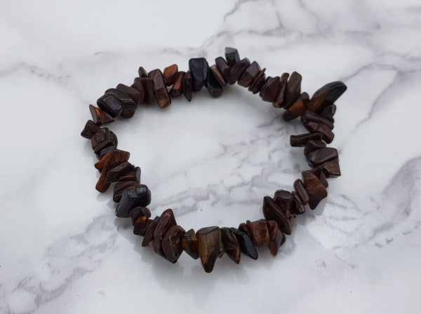 Red Tigers Eye Chip Bracelet