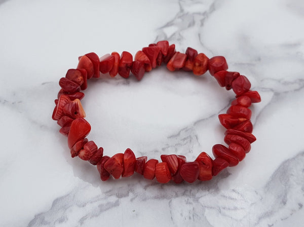 Red Dyed Coral Chip Bracelet - Earth's Treasures