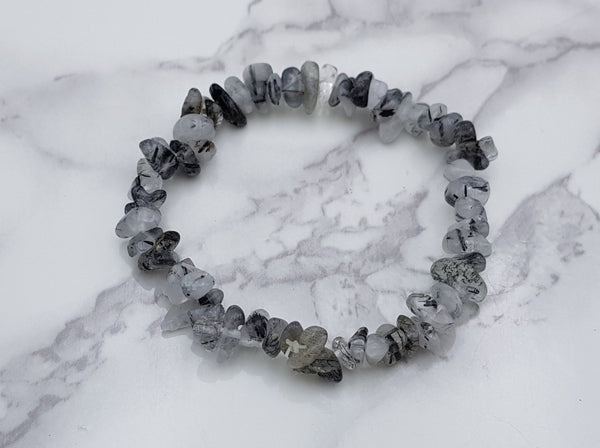 Tourmalated Quartz Chip Bracelet - Earth's Treasures