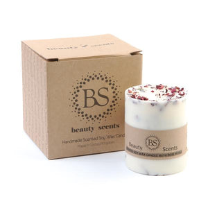 Medium Scented Soy Wax  Candle With Rose Petals