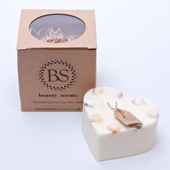Large Heart Scented Soy Wax  Candle With Sea Shells