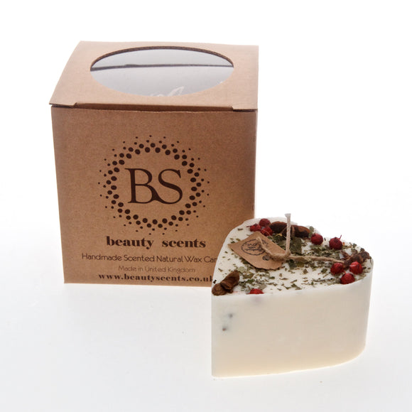 Small Heart Shape Scented Candles With Star Anise & Red Berries