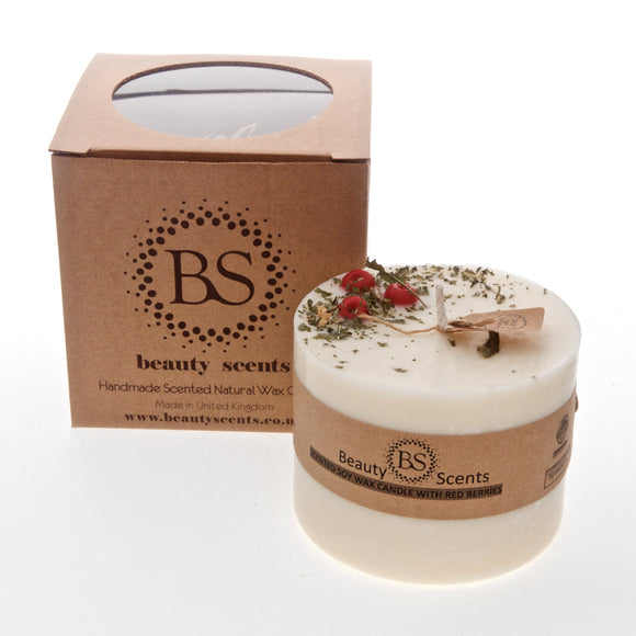 Large Scented Soy Candle With Red Berries