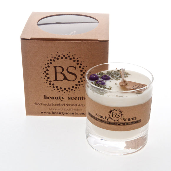 Large Scented Soy Candle With Blueberries In Glass Container