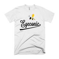 White t-shirt with black and yellow Bee Eyeconic print