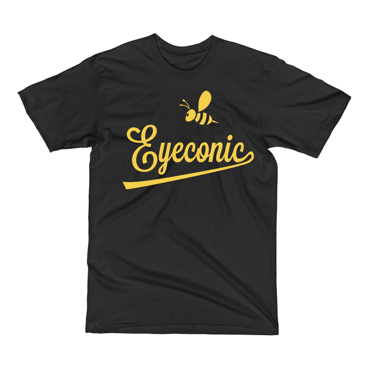 Black t-shirt with yellow Bee Eyeconic print