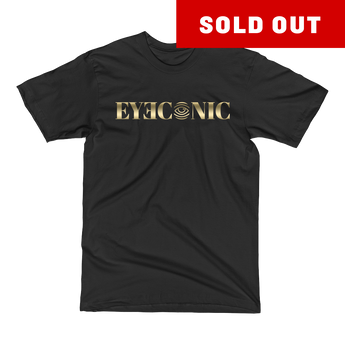 Black t-shirt with gold Eyeconic print