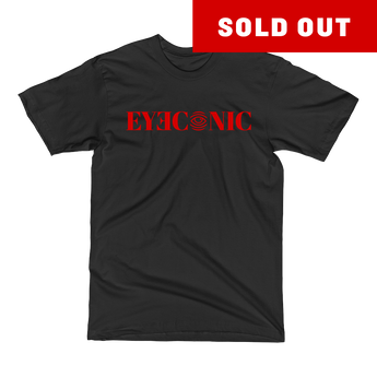Black t-shirt with red Eyeconic print