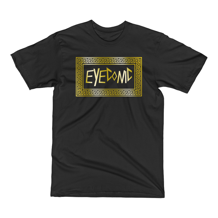 Black t-shirt with gold Eyeconic pattern print