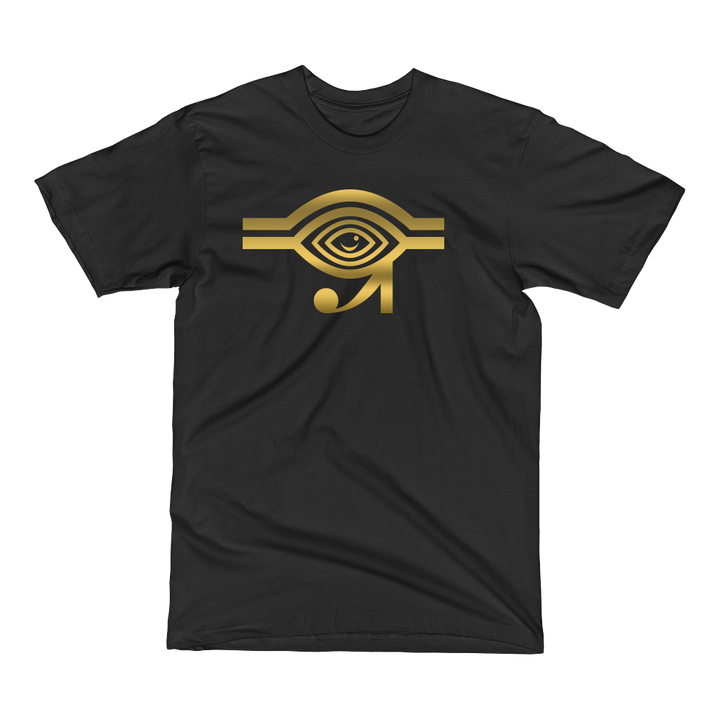 Black t-shirt with gold Eyeconic x Mally Mall Eye of Horus print
