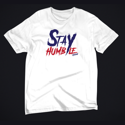 White t-shirt with Humble x Eyeconic print