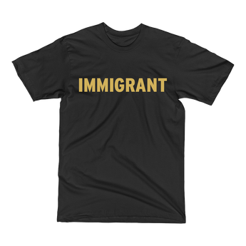 Black t-shirt with gold immigrant print