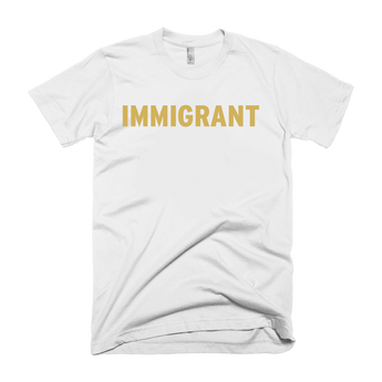 White t-shirt with gold immigrant print