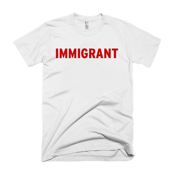 White t-shirt with red immigrant print