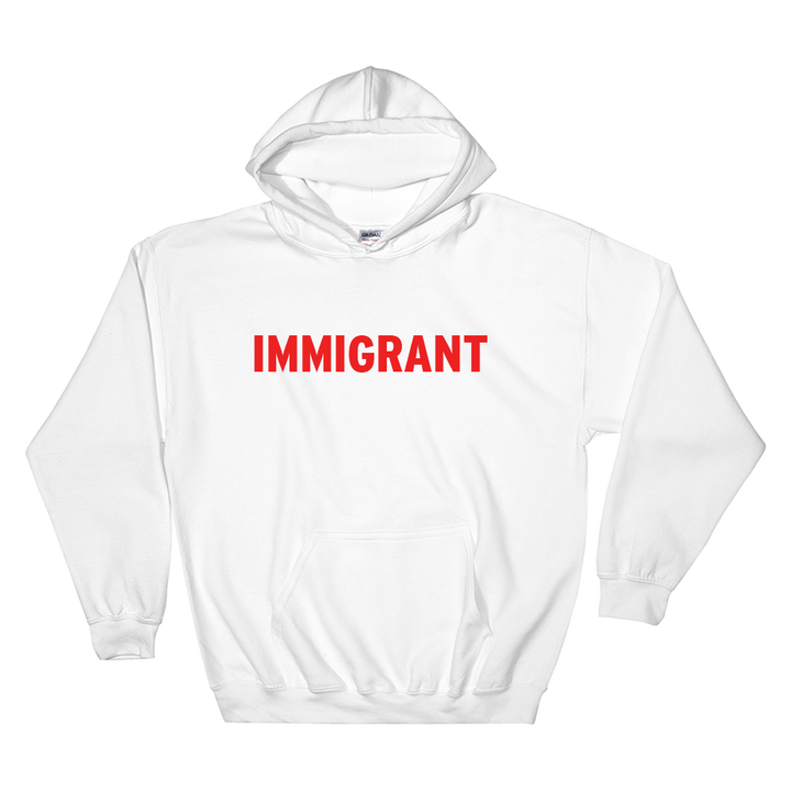 White hoodie with red immigrant print