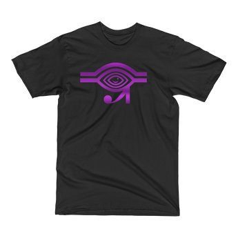Black t-shirt with purple Eyeconic x Mally Mall Eye of Horus print