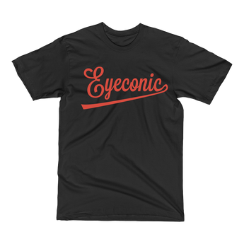 Black t-shirt with red Eyeconic baseball logo signature print