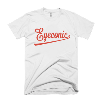 White t-shirt with red Eyeconic baseball logo signature print