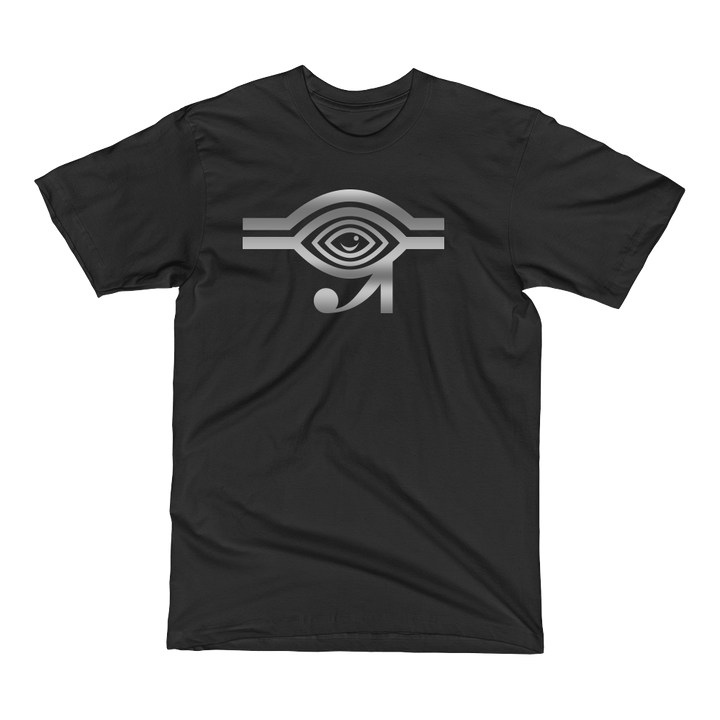 Black t-shirt with silver Eyeconic x Mally Mall Eye of Horus print