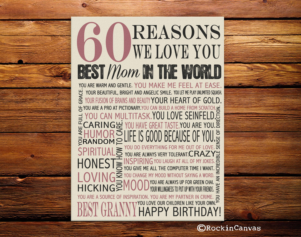 60th Birthday Present Reasons We Love You 30th 40th 50th 70th
