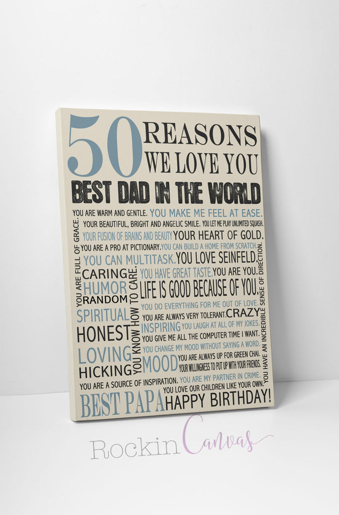 50th Birthday Present Reasons We Love You 30th 40th 60th 70th