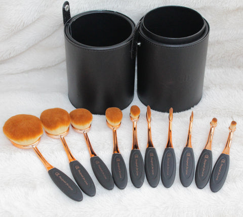 Oval Make up Brushes set of 10 Rose Gold