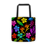 Tote Bag - Hawaiian Tropical Flowers, Rainbow Colors
