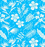 Yoga Pants - Hawaiian Tropical Flowers, Island Blue