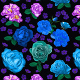 Crop Top - Romantic Roses, Blue