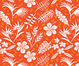 Yoga Pants - Hawaiian Tropical Flowers, Orange