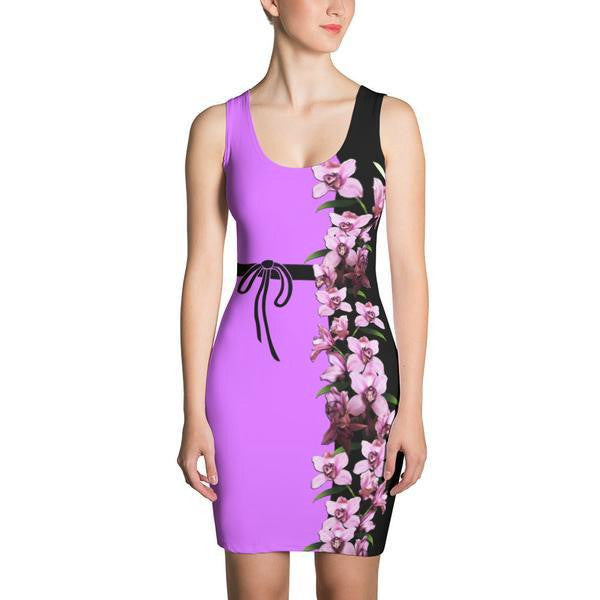 Bodycon Dress - Lavender Orchids