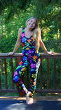 Yoga Pants - Hawaiian Tropical Flowers, Rainbow