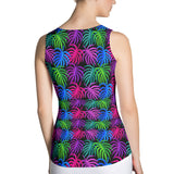Tank top neon tropical leaves