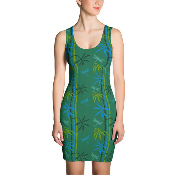 Bodycon Dress - Dragonflies in Bamboo Forest