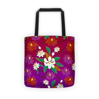 Tote bag - Magnolia Flowers, White, Red & Purple