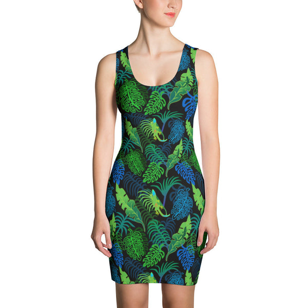 Bodycon Dress - Green Tropical Leaves with Geckos