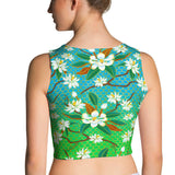 Crop Top - Magnolias, Blue/Green