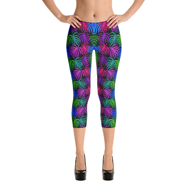 Capri Leggings - Neon Tropical Leaves