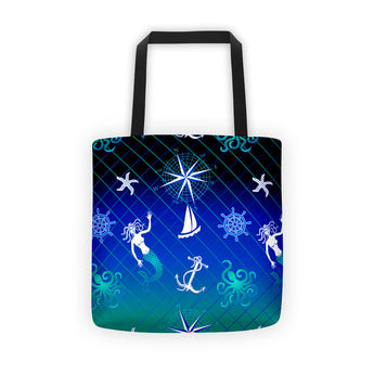 Tote bag - Nautical Mermaid with Anchors and Compass